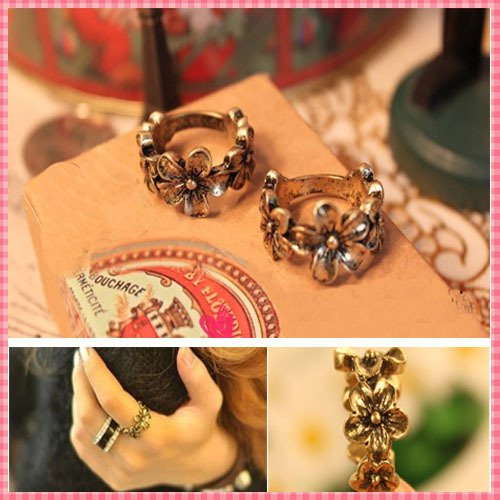 (#RI023) Vintage Flower Finger Rings for women man Carve Designer Old fashion gold rings jewelry(China (Mainland))