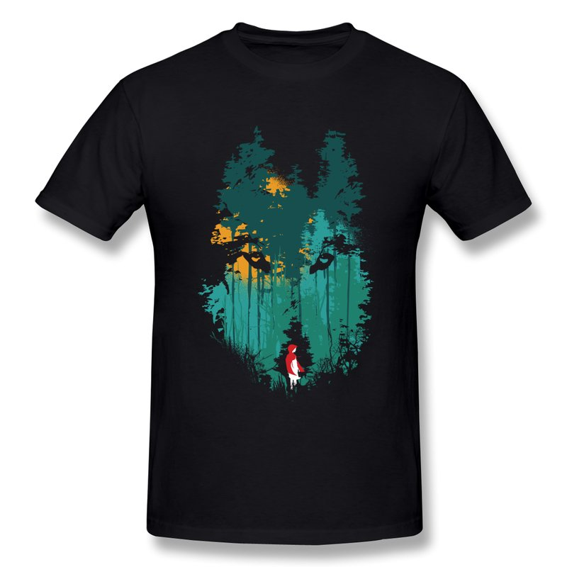 men 39 s t shirt casual the wolf and red riding hood design t