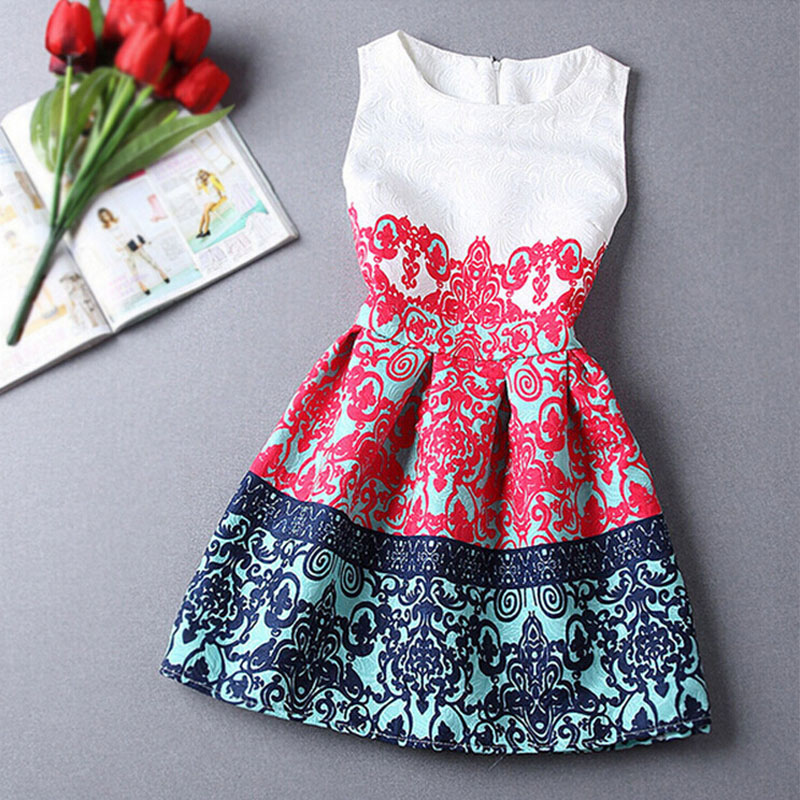 Red/Blue Summer/Spring Girls Formal Dresses Teens Designer Print Sleeveless Dress Easter Holiday Kids Costume Vestidos Infantis(China (Mainland))