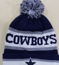 Cowboy Cuff Pom Pom Beanie Knit Hat Cap Grey and Black free shipping