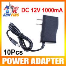 Us disponibilité pour USA 10 Pcs 12 V 1A AC DC adaptateur d'alimentation 100 - 240 V 5.5 mm x 2.1 mm pour CCTV caméra 12 W AC 100 V - 240 V adaptateur convertisseur(China (Mainland))