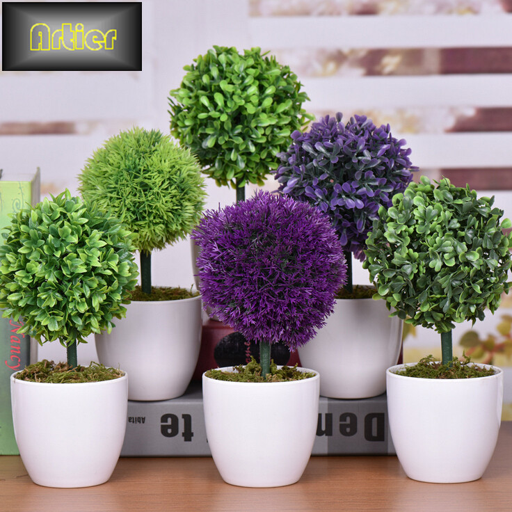 Spherical high grade simulation plant bonsai all-match creative home decoration mini potted flowers AD1276(China (Mainland))