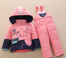 New Children winter Down Clothing Set for Girls/Boys warm Kids Down Jacket Parkas suit thick coat+jumpsuit baby clothing set (China (Mainland))