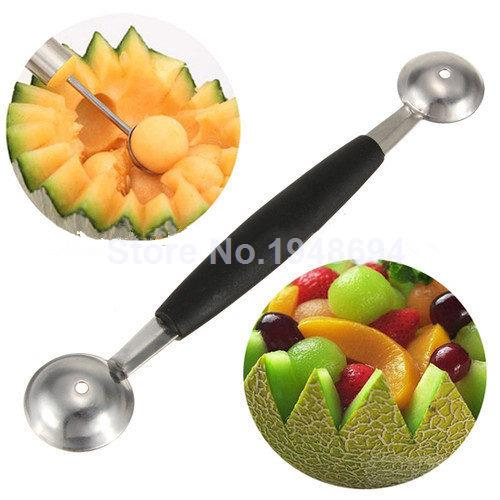1pcs Stalinless Steel Kitchenware Double End Kitchen Cooking Tools Accessories Melon Ball Fruit Spoon Ice Cream Dessert Sorbet(China (Mainland))