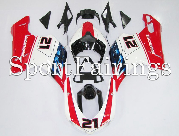 Fairings Fit DUCATI 1198 1098 848 Year 07-12 2007 2008 2009 2010 2011 2012 ABS Motorcycle Fairing Kit Bodywork Flag 21 White Red(China (Mainland))