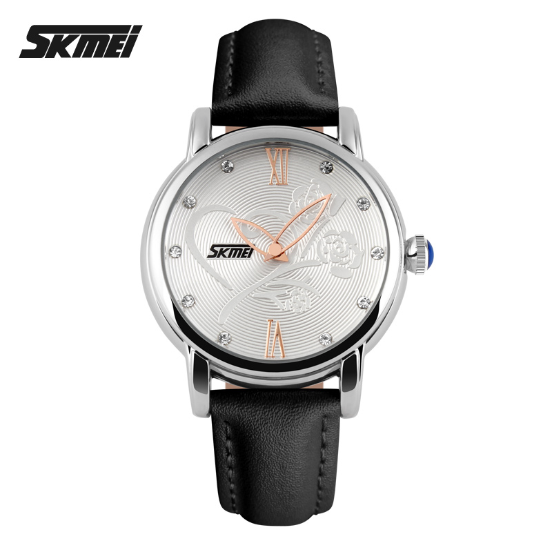 2015 Women Quartz Watch Analog Brand Fashion Casual Waterproof Leather Wrist Camellia Rose Flower Womens clocks and watches<br><br>Aliexpress