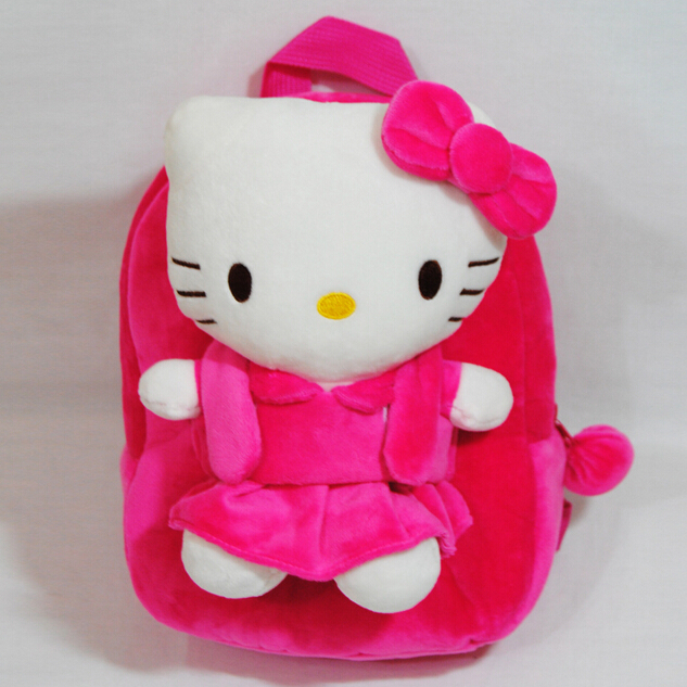 Over $20 provide 10% off discount Hello Kitty Kids Plush backpack / Children School bags /Mochilas(China (Mainland))