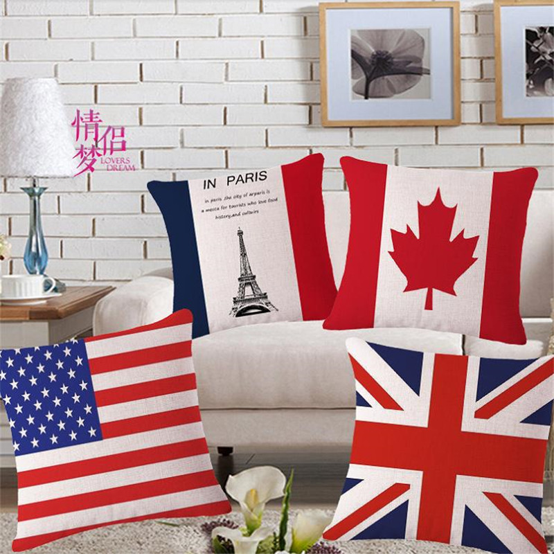 Bright flag decorative throw pillows case for sofa home for Home decor online canada