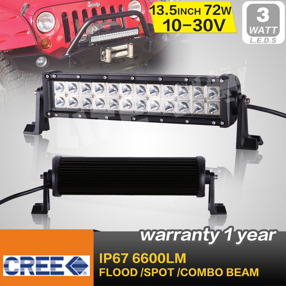 FREE SHIPPING!13.5 INCH 72W CREE LED WORK LIGHT BAR FLOOD BEAM LED DRIVING LIGHT FOR OFFROAD 4x4 ATV TRUCK TRACTOR SAVED ON 120W
