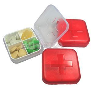 2014 New Empty Home Using Medicine Storage/Casual Cross 4 Cells Pill Cases/Convenient Travelling Mini Pill Splitters(China (Mainland))