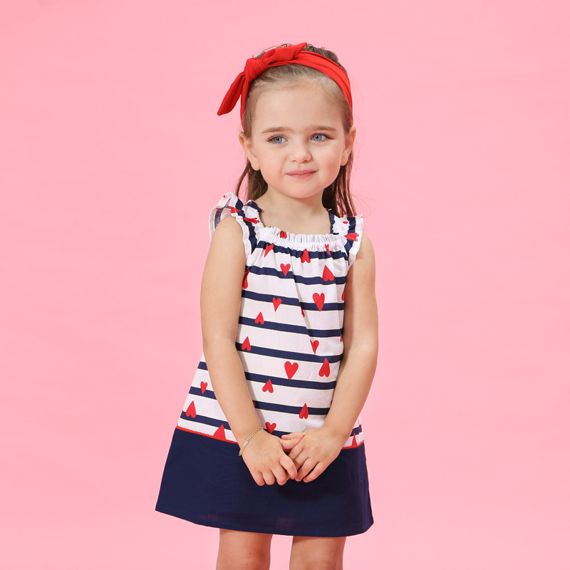 0-4Y Baby Girls Kids Dresses cotton 2016 summer Lovely Cute Red heart Blue Striped Dress Sleeveless Children's Clothing(China (Mainland))