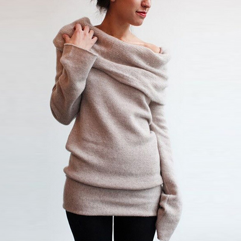 2016 New Hot Spring Autumn Fashion Sweaters Women Casual Off Shoulder Slash Neck Long Sleeve Coat Tops Solid Ladies Sweater(China (Mainland))