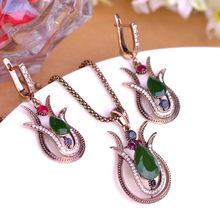 Blucome Vintage סגנון ירוק צבעוני פרח שרשרת תליון עגילי תכשיטי סט סגסוגת שרף נשים מסיבת חתונה שמלת אביזרי(China)