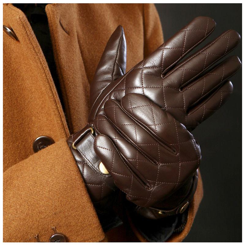 Deluxe Men Winter Gloves Genuine Leather Brown Black Berber Fleece Lined Sheep Skin - Factory store