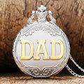 Fashion Father s Day Gift Silver Golden DAD Theme Pocket Watch With Necklace Chain Best Gift