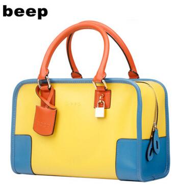 BEEP famous designer brand spring autumn womens handbag cowhide vintage plaid fashion color block shoulder bags for girl gift<br><br>Aliexpress