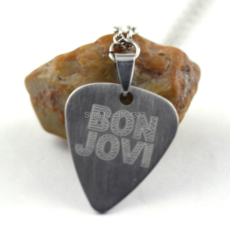 Bon Jovi Stainless Steel Guitar Pick Charm Necklaces Collection Personalized Stamped Great Gift For Friends Fans(China (Mainland))