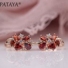 PATAYA Multi-Colored Natural Cubic Zirconia Long Earrings 585 Rose Gold RU Hot Exclusive Design Jewelry Women Luxury Earrings(China)