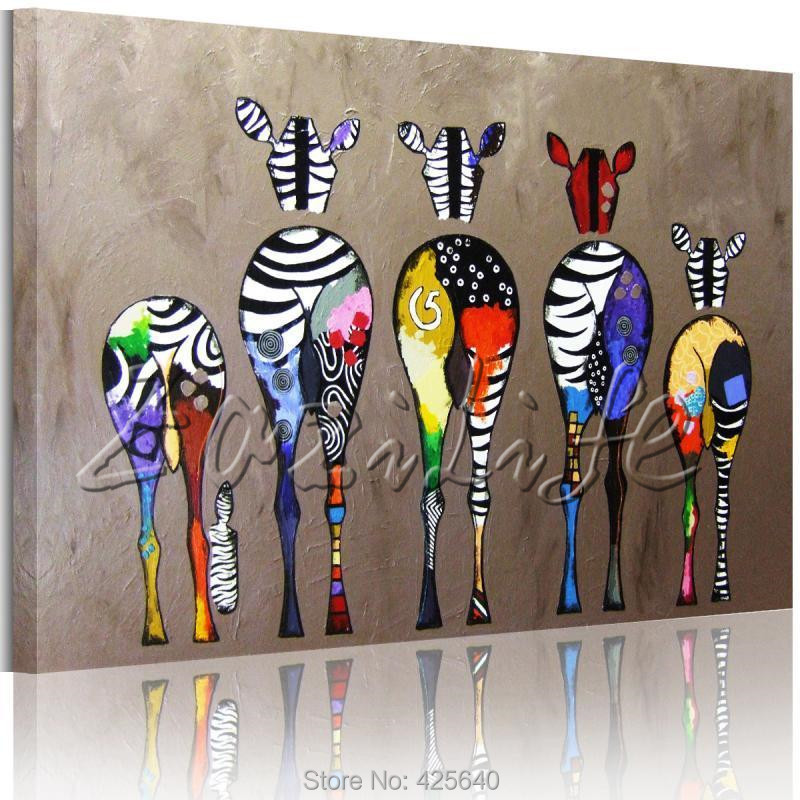 Andy Warhol Pop Art Oil painting canvas Hand-painted Zebra Wall Art Pictures Animals Cuadros Decoracion For Living Room(China (Mainland))