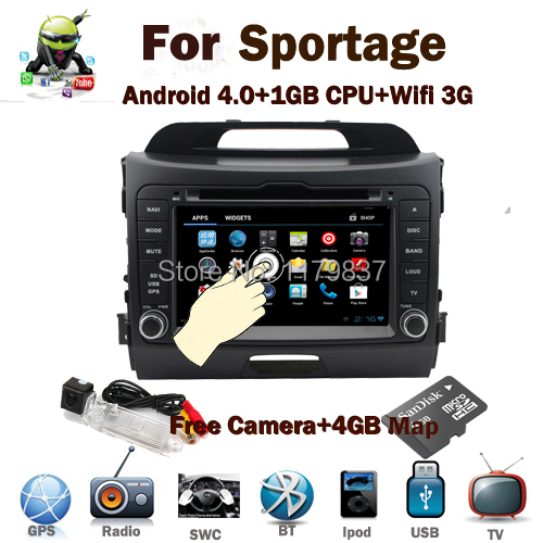 Free Camera+Map For Kia Sportage Android 4.0 Car DVD GPS Wifi 3G GPS Bluetooth Radio RDS TV USB SD PIP Steering wheel control(China (Mainland))