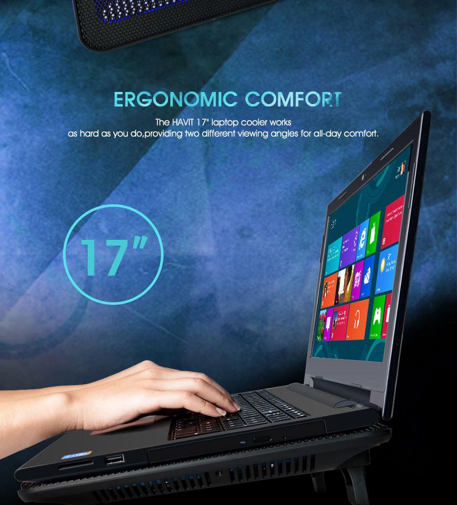 "Havit HV-F2056 15.6/""-17/"" Laptop Cooler Cooling Pad  Slim Portable USB Powered 3"