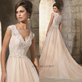 Cheap Champagne Pink Boho Wedding Dress 2015 Hot Sale Sweetangel Lace Wedding Gowns Bride A Line