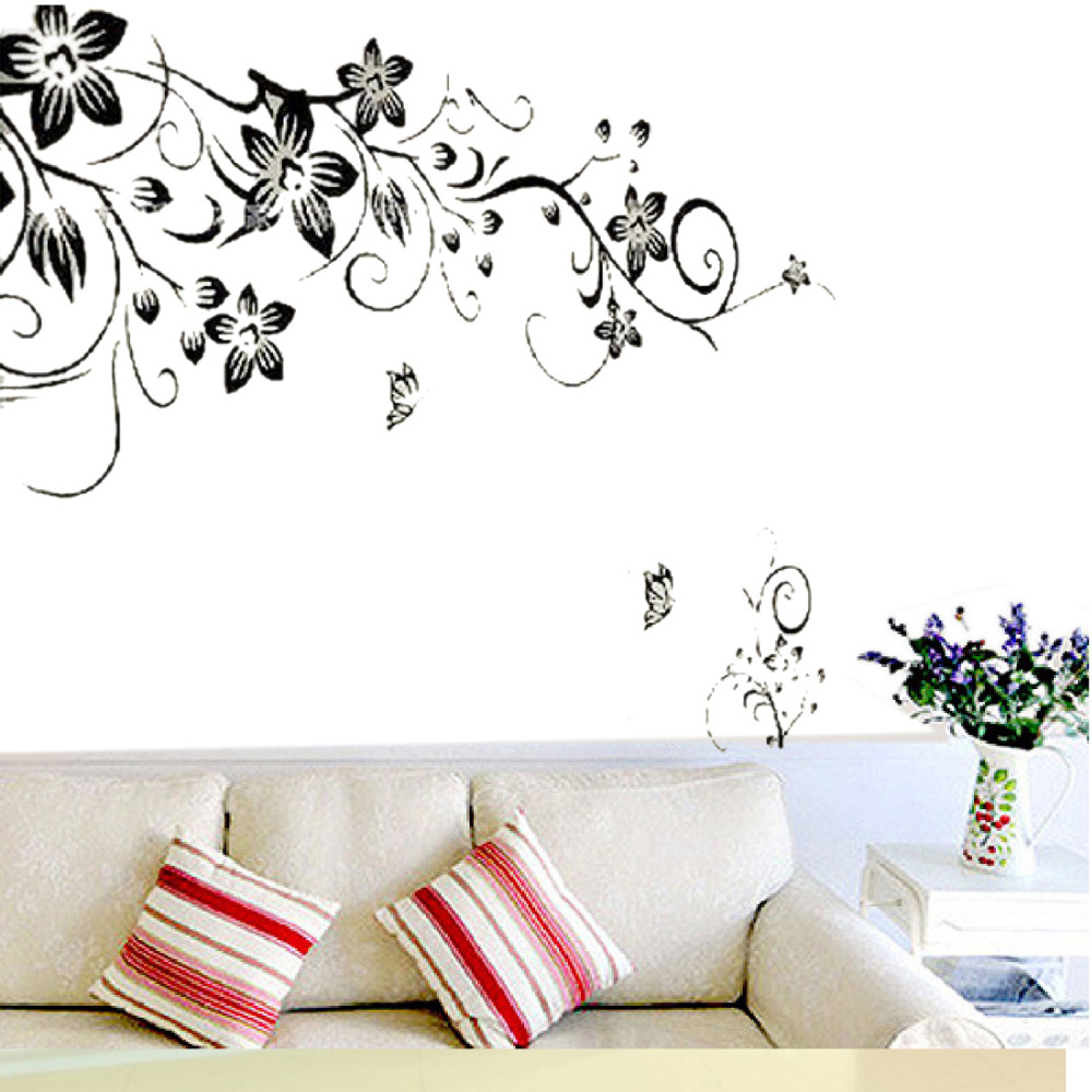 90*60cm Flower Butterfly Stickers Removable Diy Vinyl Quote Wall Sticker Poster Home decoration - Pingzi_Store store