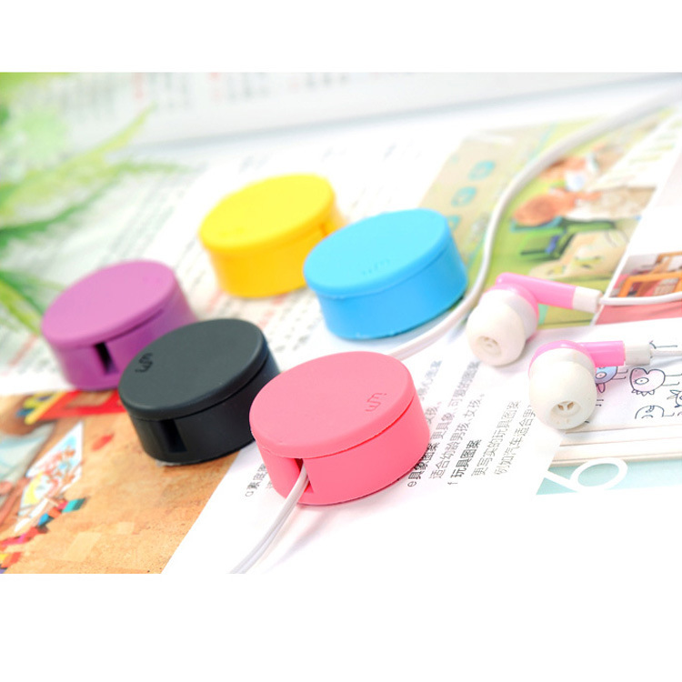 Sweet candy colored headphone winder screen wipe mini cable management hub FREE SHOPPING(China (Mainland))