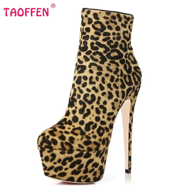 Фотография Women Ankle High Heel Boots Pointed Toe Thin Heels Leopard Boots Shoes Woman Brand Sexy Customizable Footwear Size 35-46 B174