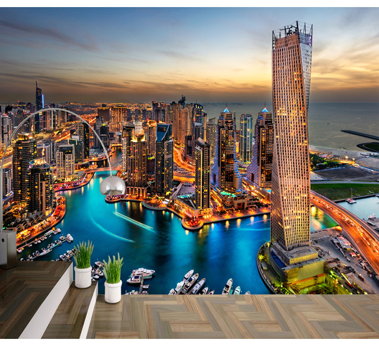 dubai modern urban landscape wallpaper bedroom living room