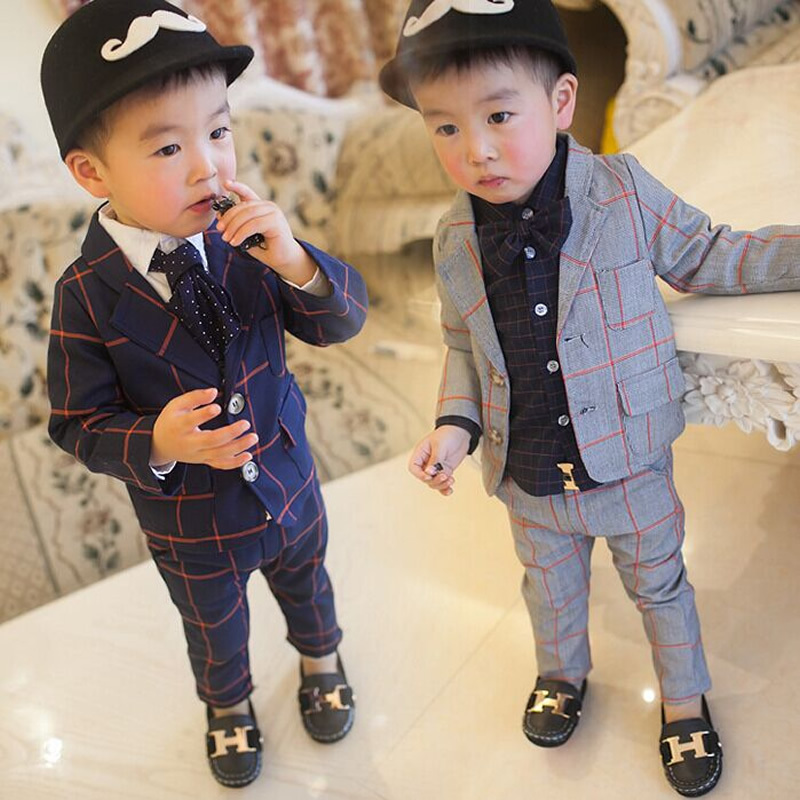 Retail Brand Children Clothing Set England Kid Clothes Gentleman Boy Party/Wedding Suits Baby Boy Formal Plaid Long-sleeved Sets(China (Mainland))
