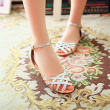 Lady's Bling Buckle-Strap Cover Heel Plus size (4-17) Flats Cut-outs Open toe Beach sandals Summer shoes School girl Flip flops