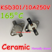 Buy 10pcs/lot KSD301 10A 250V 165 degrees 165 C Normal Close NC ceramic Temperature Controlled Switch Thermostat for $5.59 in AliExpress store