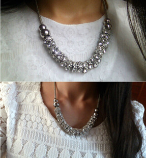 2016 South Korean jewelry joker exaggerated collarbone chain set auger circle short necklace - lynn's department store (No Minium store)