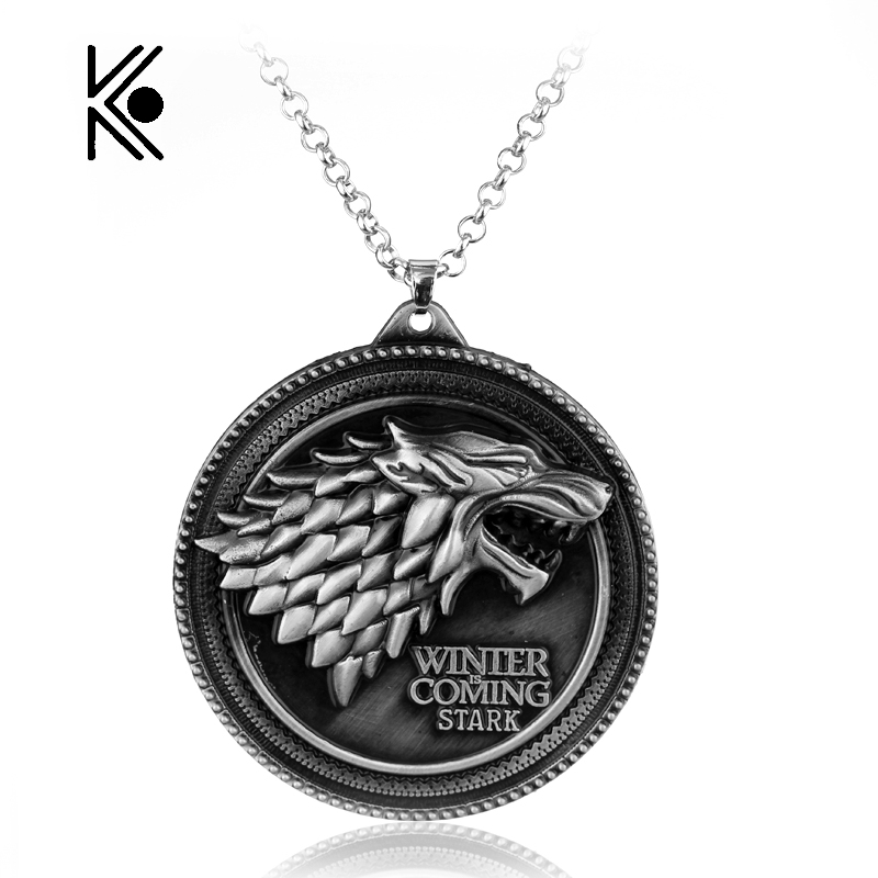 Game Of Thrones House Of Stark Wolf Alloy Pendant Necklace With High Quality Gifts For Fans Movie Jewelry Factory Direct Sale(China (Mainland))