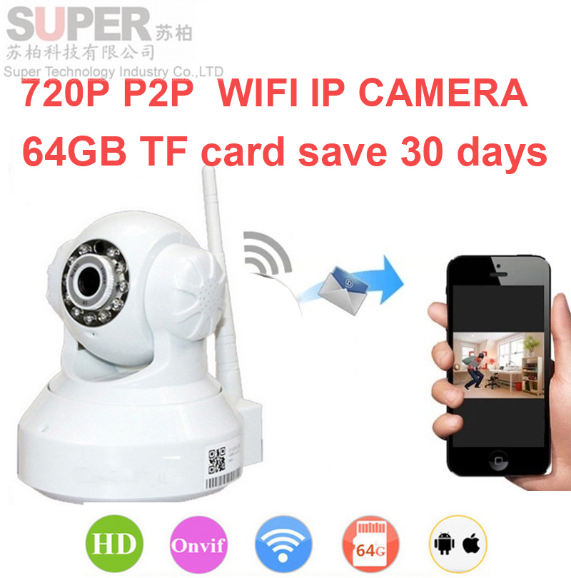 64G save 30day WiFi IP Camera 720P Remote Surveillance dvr Onvif P2P CAM Wireless Video Surveillance Camera 1000 people to watch(China (Mainland))