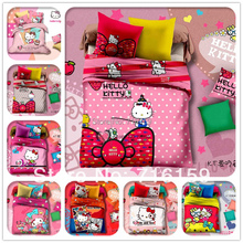 2014 new bedding set 4pcs 100% cotton hello kitty queen king size bedding set/ bed sheet/bedclothes for children/baby bed linen(China (Mainland))