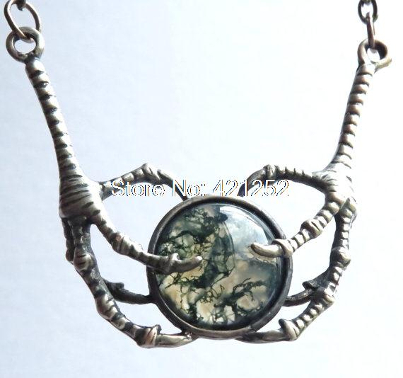 10pcs Game of Thrones Moss Agate and Raven Talons Pendant Game of Thrones necklace jewelry Raven claws game of thrones jewelry(China (Mainland))