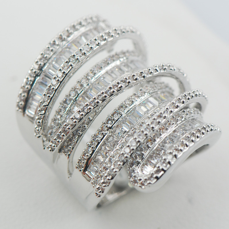 Micropave Simulated Diamond White Sapphire 925 Sterling Silver Ring Size 7 8 9 10 11 A12