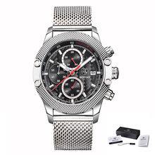BENYAR Sport chronographe mode montres hommes maille et bande de caoutchouc étanche marque de luxe montre à Quartz or Saat livraison directe(China)