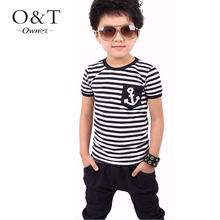 z6 summer Children boys Short Sleeve toddler clothing kids Navy Striped Cotton  T-shirt + Pants Suits  Free shipping