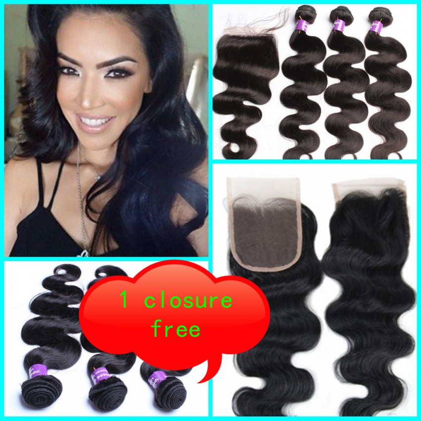 Brazilian Hair Weft Body Wave 3pcs Hair Weave Bundles with 1pcs Lace Closure GaGa Hair Products Hair Extensions<br>
