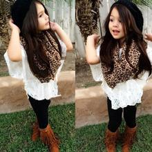 Hot 2015 Fashion Children Clothing Sets Baby Kids Clothes Girls Boutique Clothing Leopard Scarves+Lace Bat Shirt+Camisole+Pants (China (Mainland))