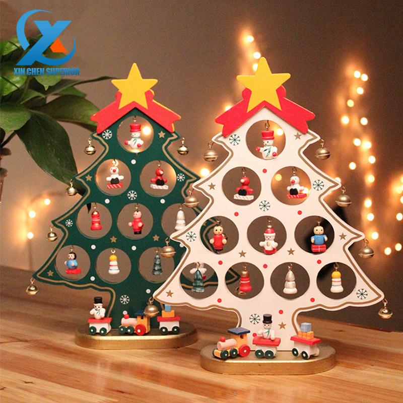 1pc Diy Cartoon Wooden Christmas Tree Decoration Christmas