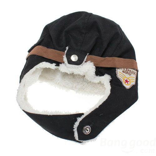 OnlineCart Toddler Baby Pilot Warm Hat Beanie Black Brown(China (Mainland))