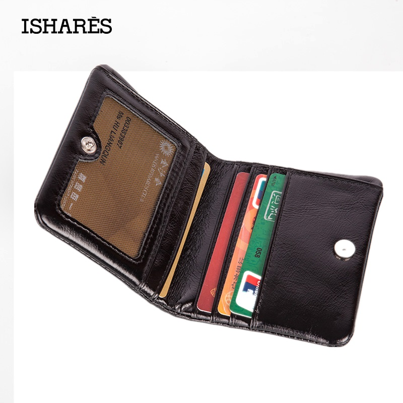 ISHARES 2016 Oil Wax Paper Fold Zipper Purse Women/Men Mini Genuine Leather Small Mini Black Coin ID Cards Holder Wallet IS6039(China (Mainland))