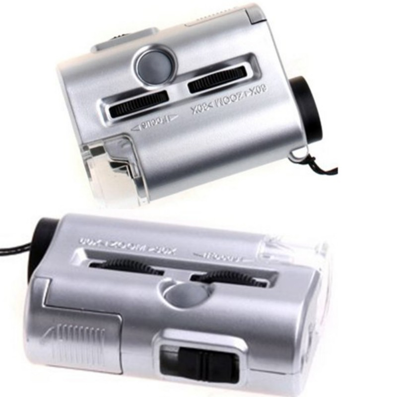 Mini Lens 60X Pocket Magnifier Microscope With LED Light Jewelry Loupe Currency Dectector New