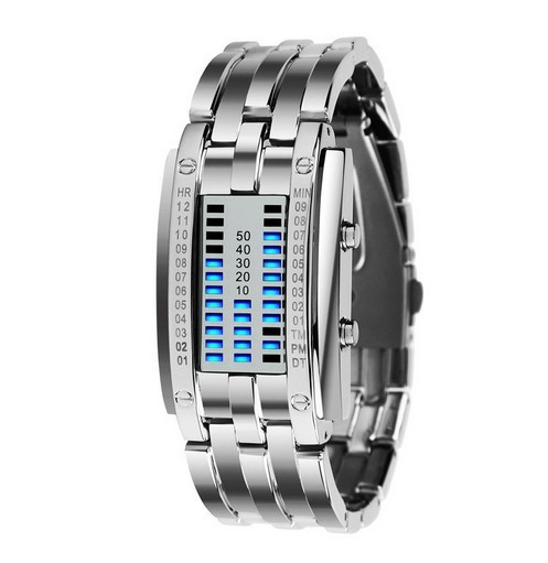Deluxe Lover Waterproof LED Electronic Men Women Stainless Steel Wristwatches Blue Binary led Displayer Luminous Sports