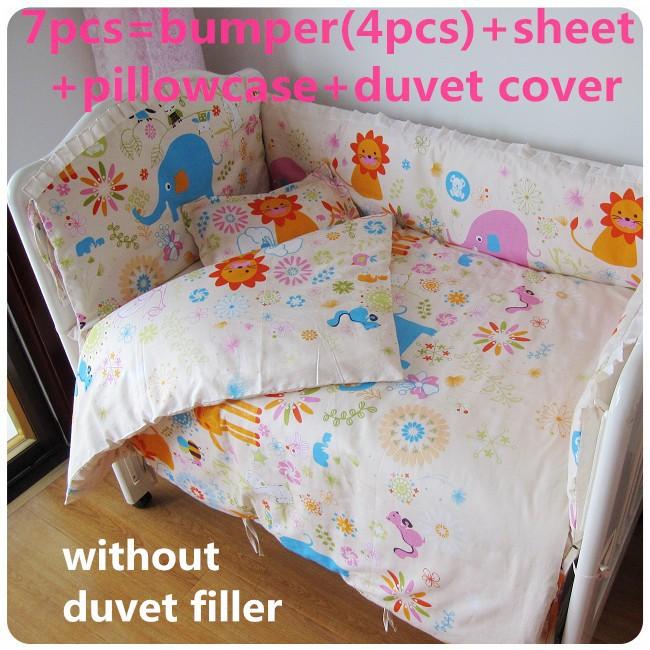 Promotion! 6/7PCS Baby Cot Bedding Set Cartoon Crib Bedding Duvet Cover ,120*60/120*70cm<br><br>Aliexpress