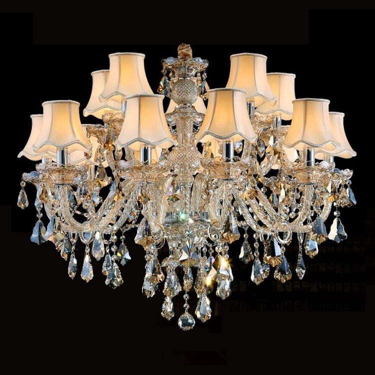 2015 Free Shipping 15 Arms Big Lustres Chandelier , with 100% K9 Crystal and Lampshades (P CCDC-001-15S) D800mm H730mm(China (Mainland))